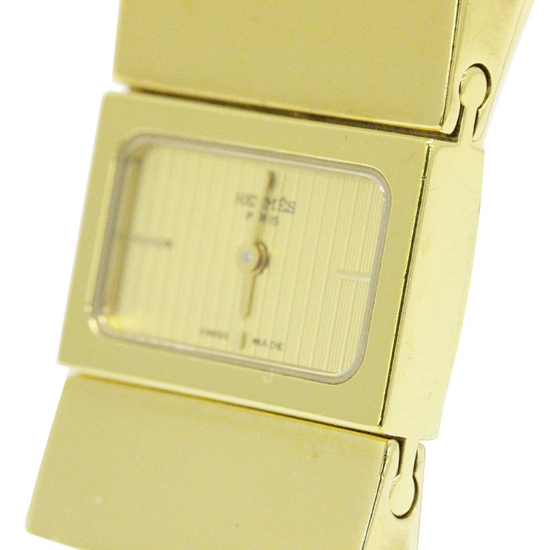 Hermes Gold Gold-Plated Stainless Steel Loquet Women's Wristwatch 20MM