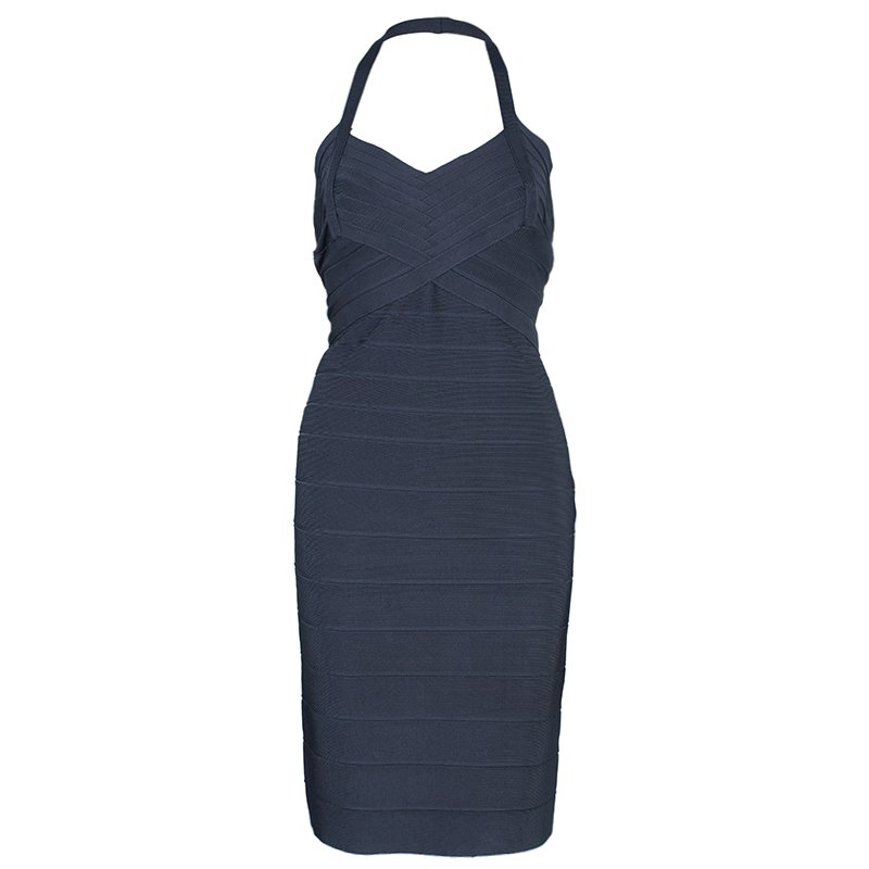 Herve Leger Grey Halterneck Bandage Dress M