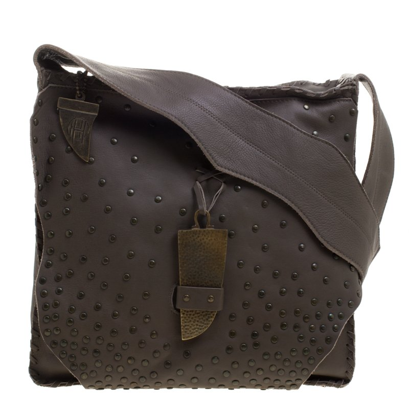 a995ae04194b7 Buy House Of Harlow 1960 Fatigue Green Leather Studded Devon ...