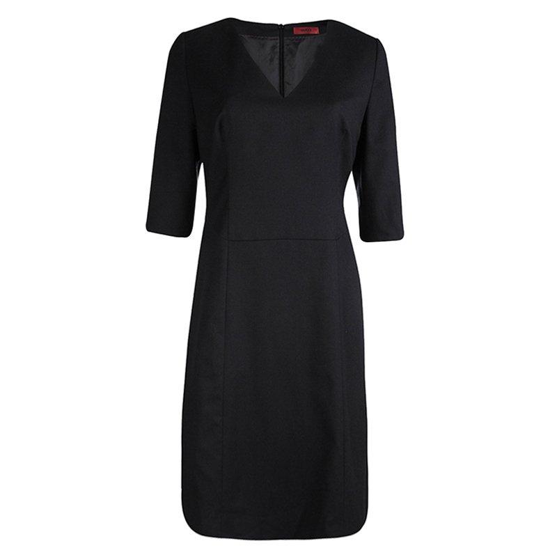 Hugo By Hugo Boss Black Wool V-Neck Kinata Dress M