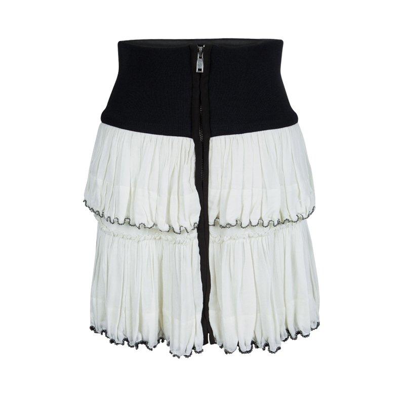 8943d74b16 Buy Isabel Marant White Beaded Hem Detail Tiered Roscoe Mini Skirt S ...