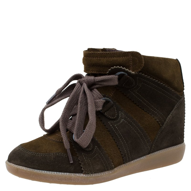 Buy Isabel Marant Two Tone Suede Bobby Lace Up Wedge Sneakers Size ...