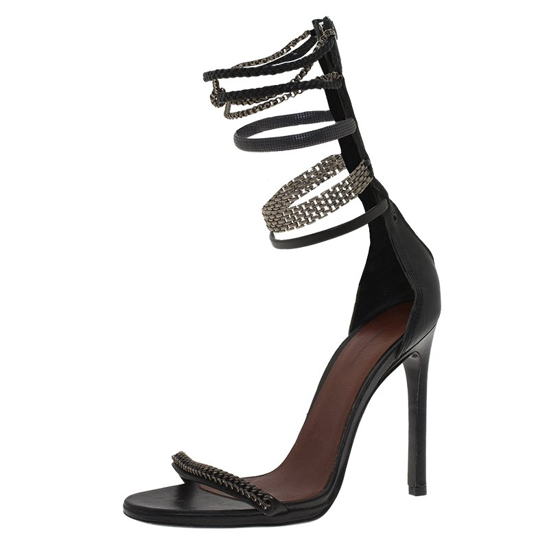 2684bfe4555 ... Black Leather Rio Chain Detail Ankle Strap Sandals Size 37. nextprev.  prevnext