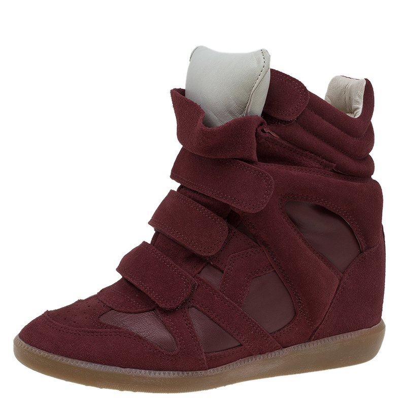 f68e7bf662 Buy Isabel Marant Red Suede and Leather Bekett Wedge Sneakers Size ...