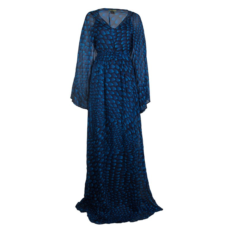 a4b31a2a6d0 ... Issa London Blue Printed Silk Belted Kaftan Maxi Dress L. nextprev.  prevnext