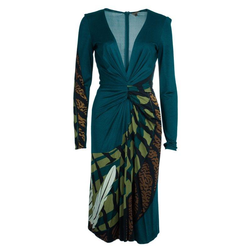 Issa Teal Animal Print Silk Jersey Dress M