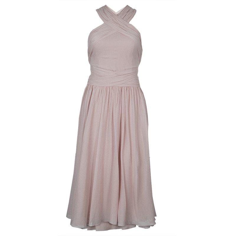 فستان جيسون وو ريزورت'15 متقاطع وبلا ظهر شيفون مجعد وردي فاتح S