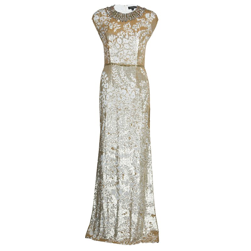 Jenny Packham Gold Sequin Embellished Sleeveless Gown M
