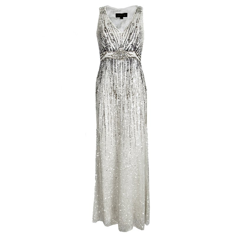 Buy Jenny Packham Off White Sequin Embellished Beaded Sleeveless