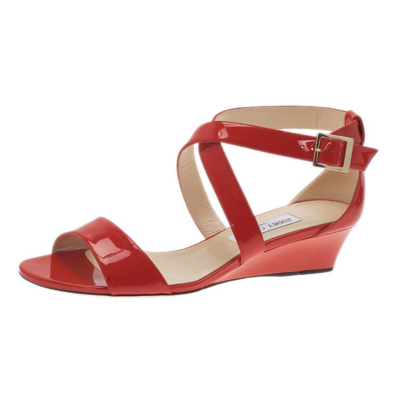 ec9734496964 ... Jimmy Choo Red Patent Leather Chiara Wedge Sandals Size 40. nextprev.  prevnext