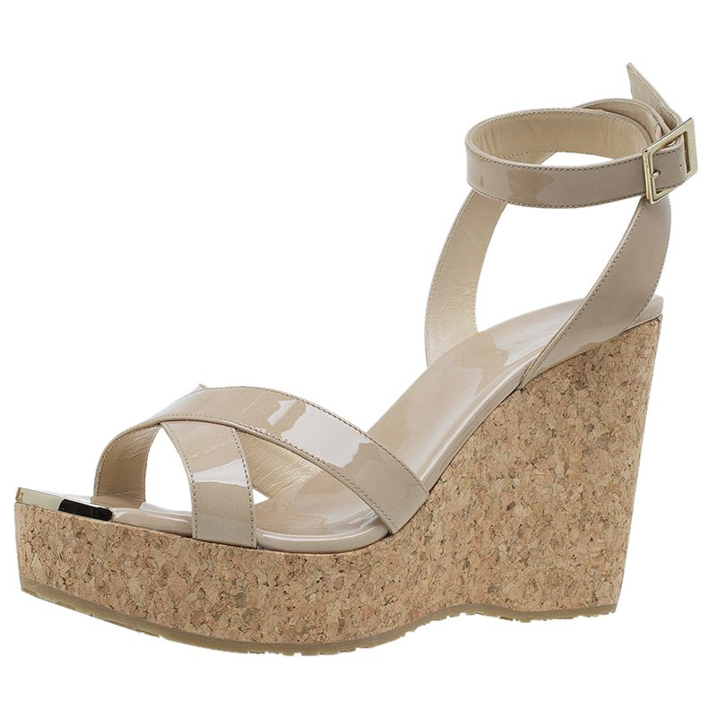 09d38a338b1 Buy Jimmy Choo Nude Patent and Cork Papyrus Wedge Sandals Size 40.5 ...