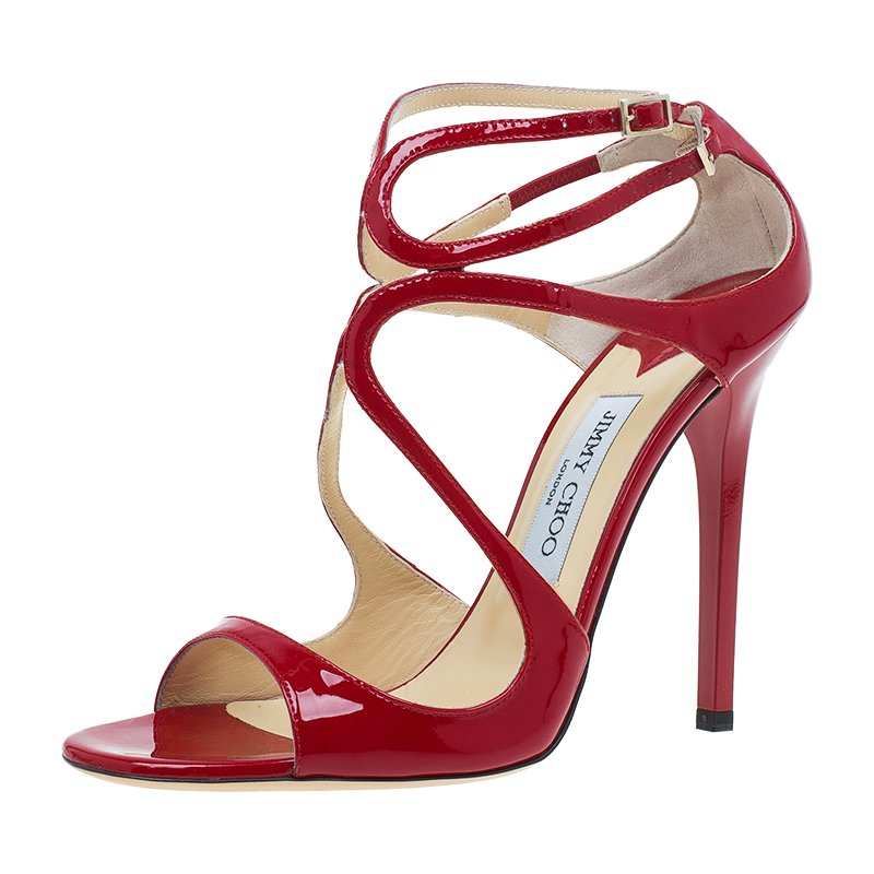 349a36a493e8 Buy Jimmy Choo Red Patent Leather Lance Strappy Sandals Size 39 ...