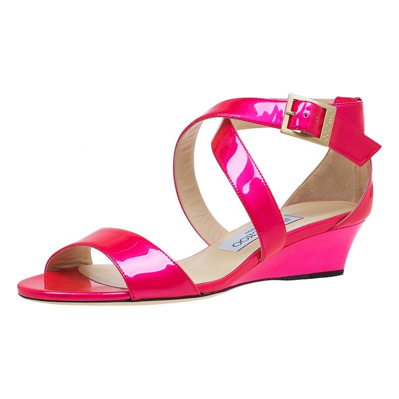 Jimmy Choo Pink Patent Chiara Wedge Sandals Size 36