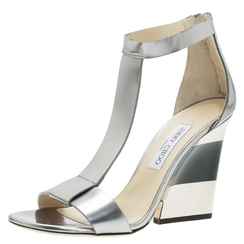 42932d01149 Buy Jimmy Choo Silver Metallic Leather T-Strap Milan Wedge Sandals ...