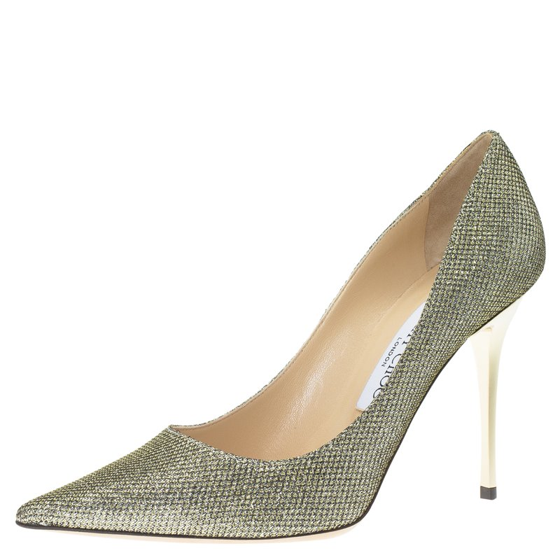 0e843012a8 Buy Jimmy Choo Gold Lamé Glitter Fabric Abel Pumps Size 37 62337 at ...