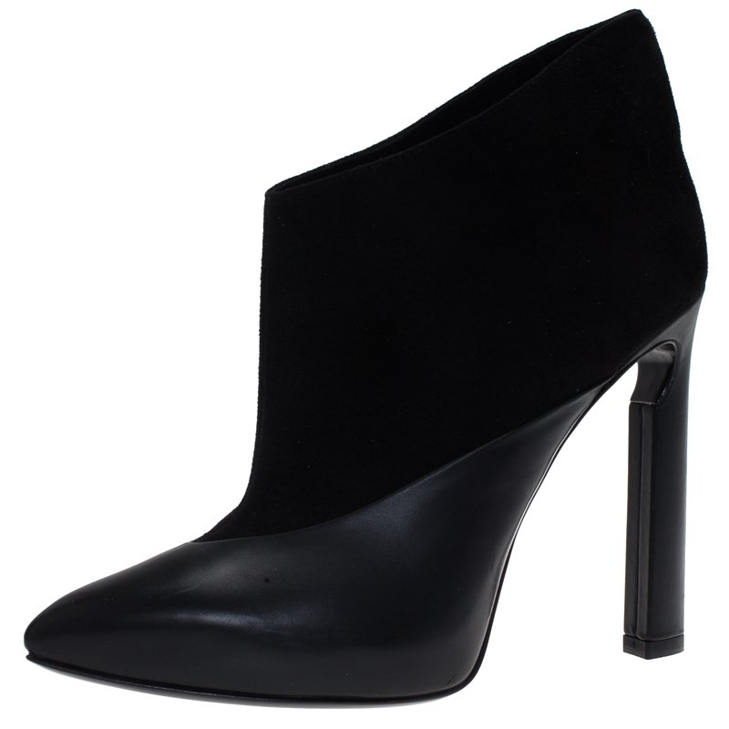 Jimmy Choo Black Leather and Suede Diad Ankle Boots Size 38.5