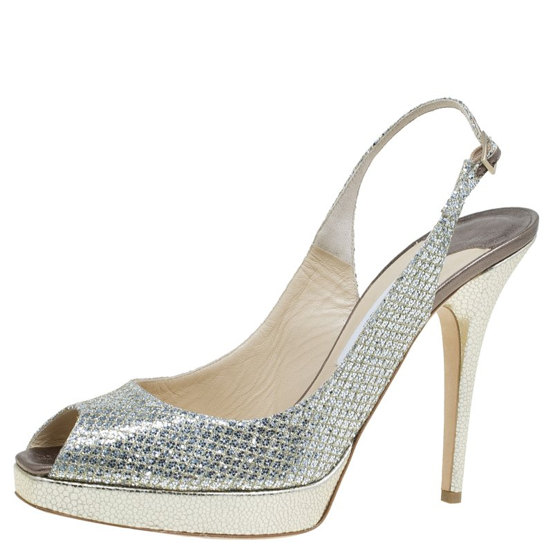 Jimmy Choo Gold Glitter Clue Platform Slingback Sandals Size 41