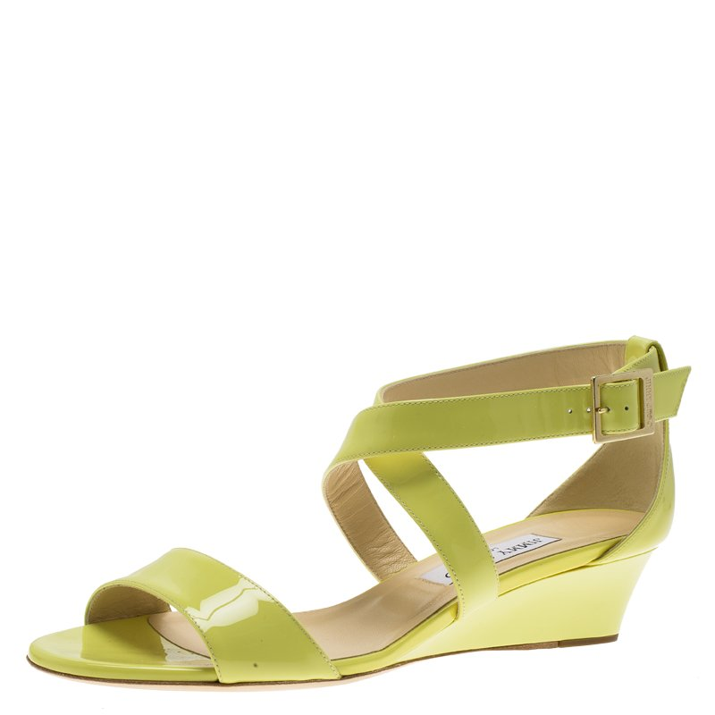 6c3eef6fb948 ... Jimmy Choo Neon Yellow Patent Leather Chiara Wedge Sandals Size 39.5.  nextprev. prevnext
