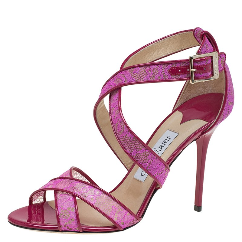56b23f217 ... Jimmy Choo Pink Lace and Patent Leather Lottie Strappy Sandals Size 40.  nextprev. prevnext