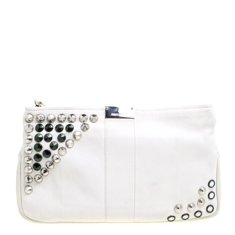 Buy Jimmy Choo Off White Leather Studded Zulu Clutch 104839 at best ... 75a77a2ccde39