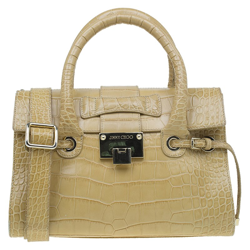 2799d05e8003 Buy Jimmy Choo Beige Croc Embossed Leather Small Rosalie Top Handle ...