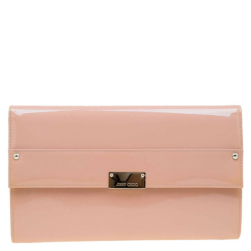 3f0b80e0448c5 Buy Jimmy Choo Blush Pink Patent Leather Reese Wallet Clutch 72610 ...