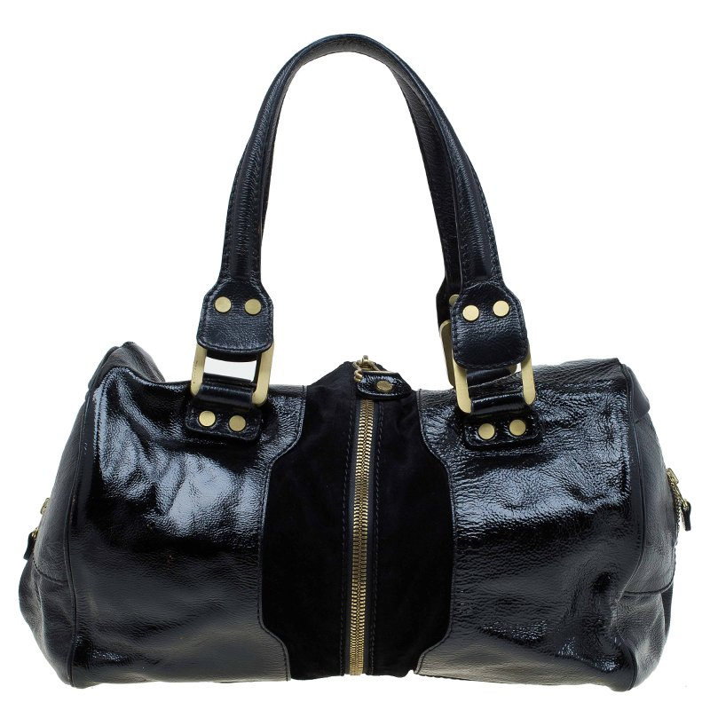 0a5b1fa6411 ... Jimmy Choo Black Patent and Suede Leather Large Marla Bag. nextprev.  prevnext