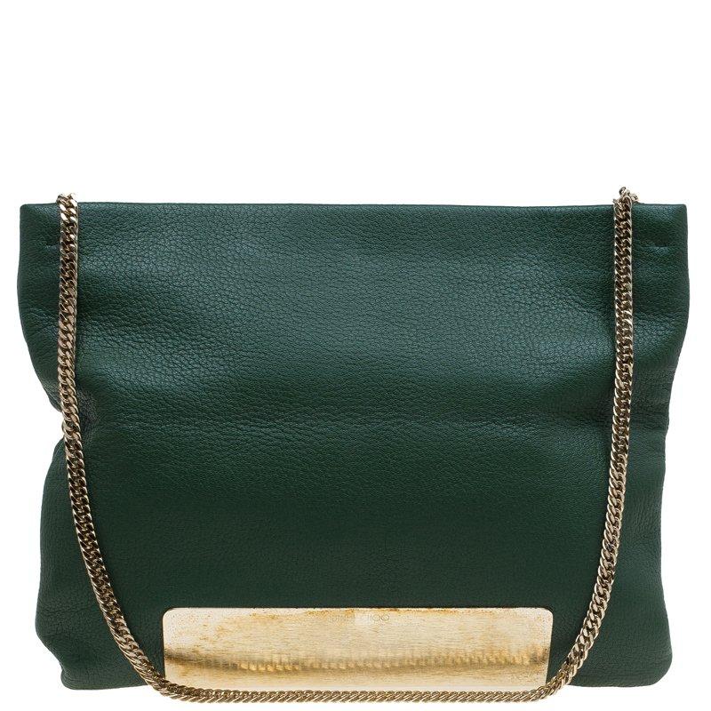 Jimmy Choo Green Leather Carrie Clutch