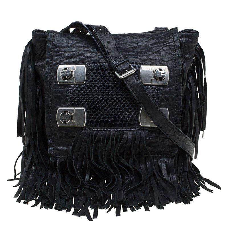 ... Jimmy Choo Black Grain Leather and Python Adele Fringe Crossbody Bag.  nextprev. prevnext 6ca6285406198