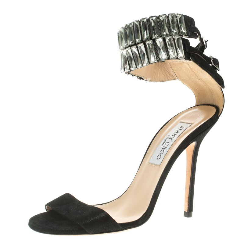 3f3172f64cb6 ... Jimmy Choo Black Suede Crystal Embellished Ankle Cuff Sandals Size 37.  nextprev. prevnext