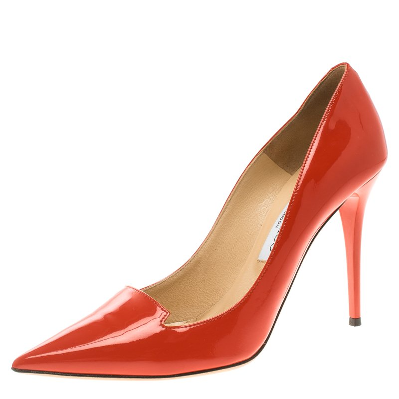 26b9772f61a Buy Jimmy Choo Orange Patent Leather Avril Pointed Toe Pumps Size 39 ...