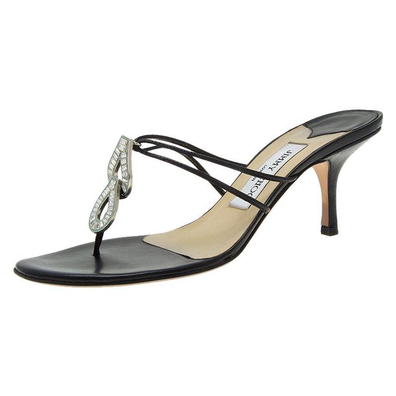 ec155f0a781 ... Jimmy Choo Black Leather Thong Sandals Size 38. nextprev. prevnext