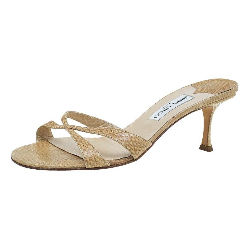 buy jimmy choo beige snakeskin criss cross kitten heel slides size rh theluxurycloset com