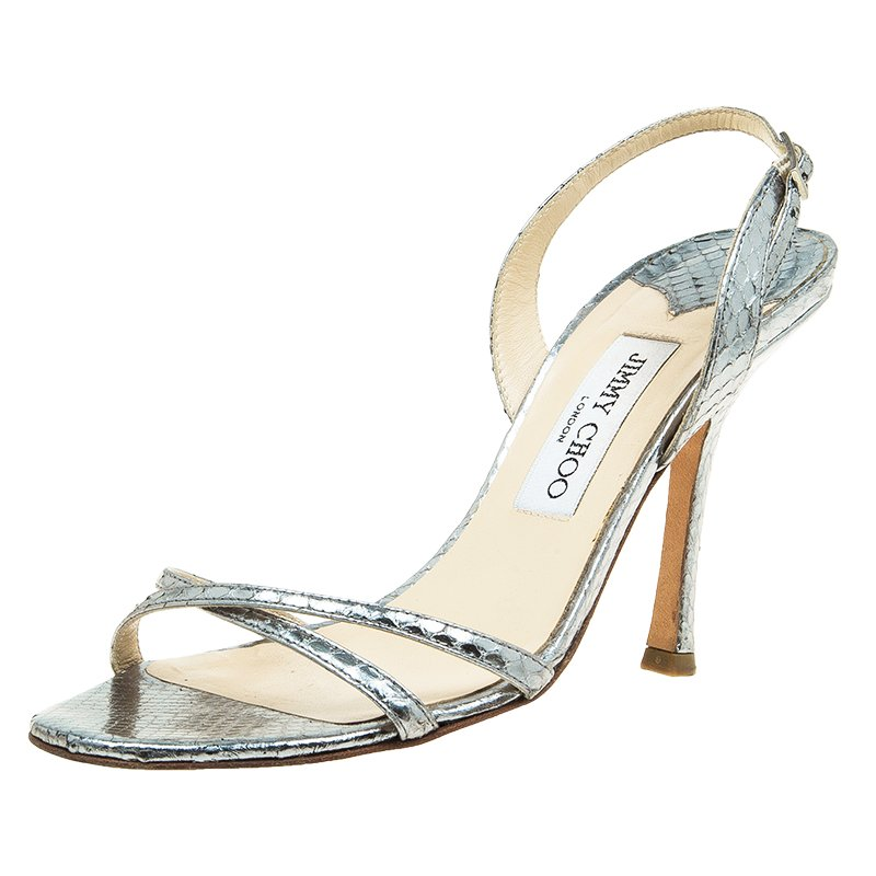 3e4cfbbf7efd71 ... Jimmy Choo Metallic Silver Python Embossed Indie Strappy Sandals Size  38.5. nextprev. prevnext