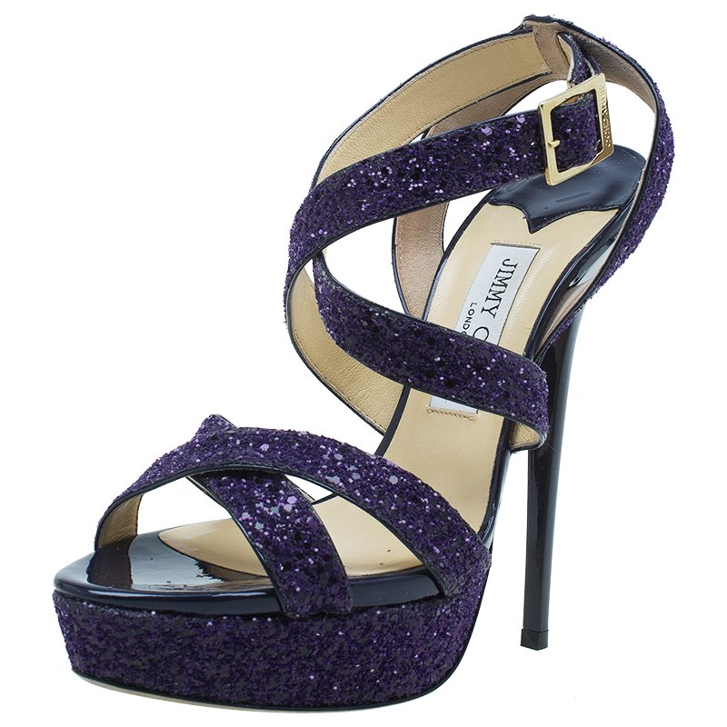 Jimmy Glitter Cross Sandals Criss Purple Buy Choo Vamp Size Platform TlFK1cJ