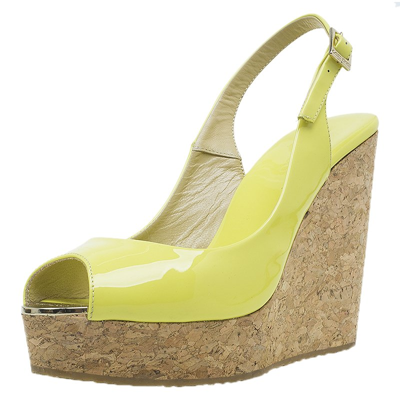 5994aec83274 Buy Jimmy Choo Yellow Patent Prova Slingback Cork Wedge Sandals Size ...