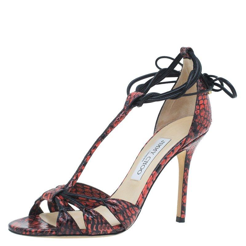 100136b2e63 ... Jimmy Choo Orange Elaphe and Leather Motive Ankle Wrap Sandals Size  38.5. nextprev. prevnext
