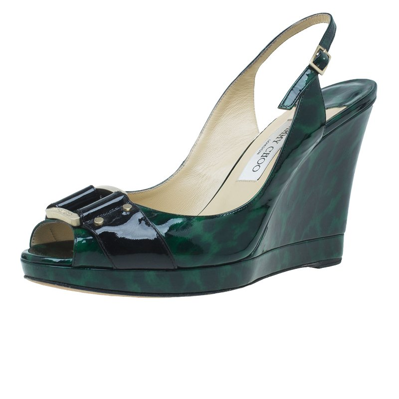 Jimmy Choo Dark Green Patent Buckle Detail Peep Toe Slingback Wedge Sandals Size 40.5