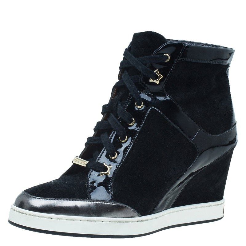 45ed4fd6f1 ... Jimmy Choo Black Patent Leather and Suede Panama Wedge Sneakers Size  37.5. nextprev. prevnext