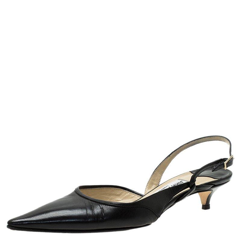 15635929a0f7 Buy Jimmy Choo Black Leather Varia Slingback Kitten Heel Sandals ...