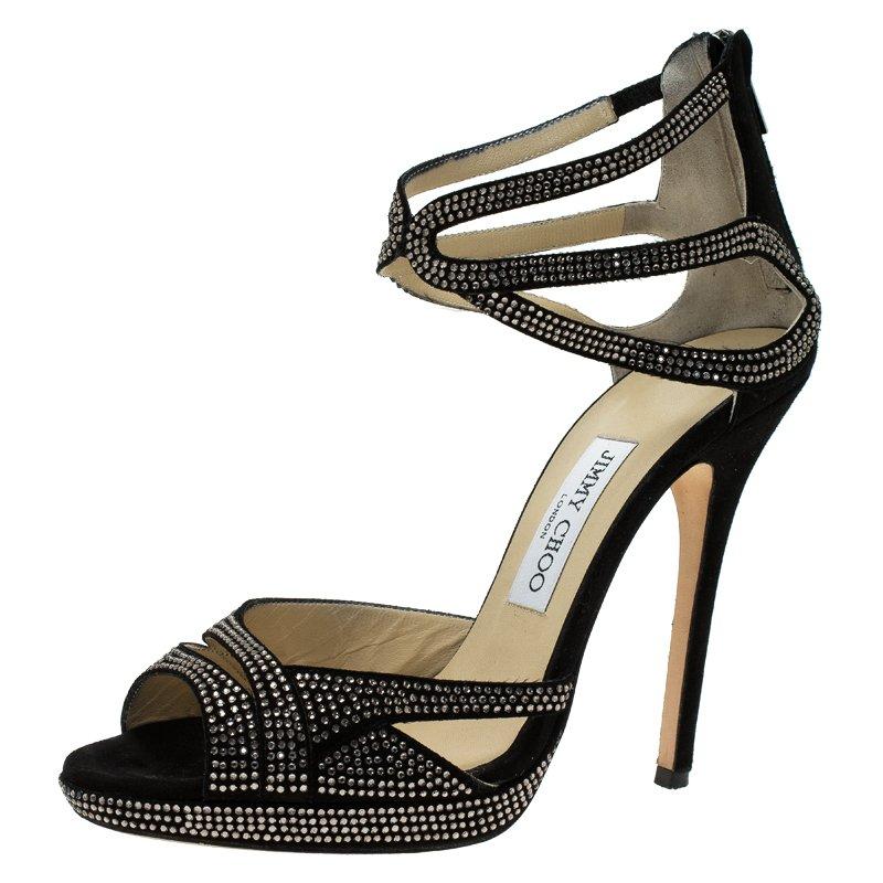e2090acf3a41 ... Black Crystal Studded Suede Strappy Sandals Size 40. nextprev. prevnext