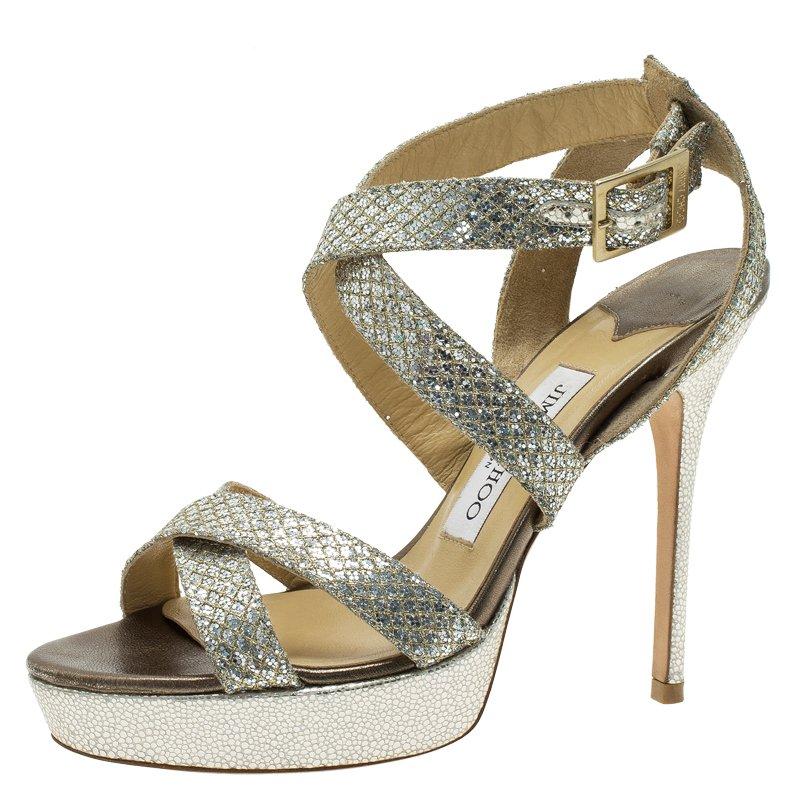 3f32e22b8b2 Buy Jimmy Choo Silver and Gold Glitter Vamp Platform Sandals Size 38 ...