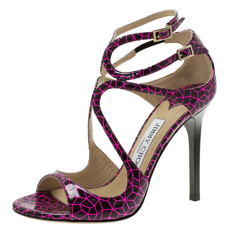 bba573f8139 ... Jimmy Choo Pink and Black Print Patent Lance Strappy Sandals Size 35.5.  nextprev. prevnext