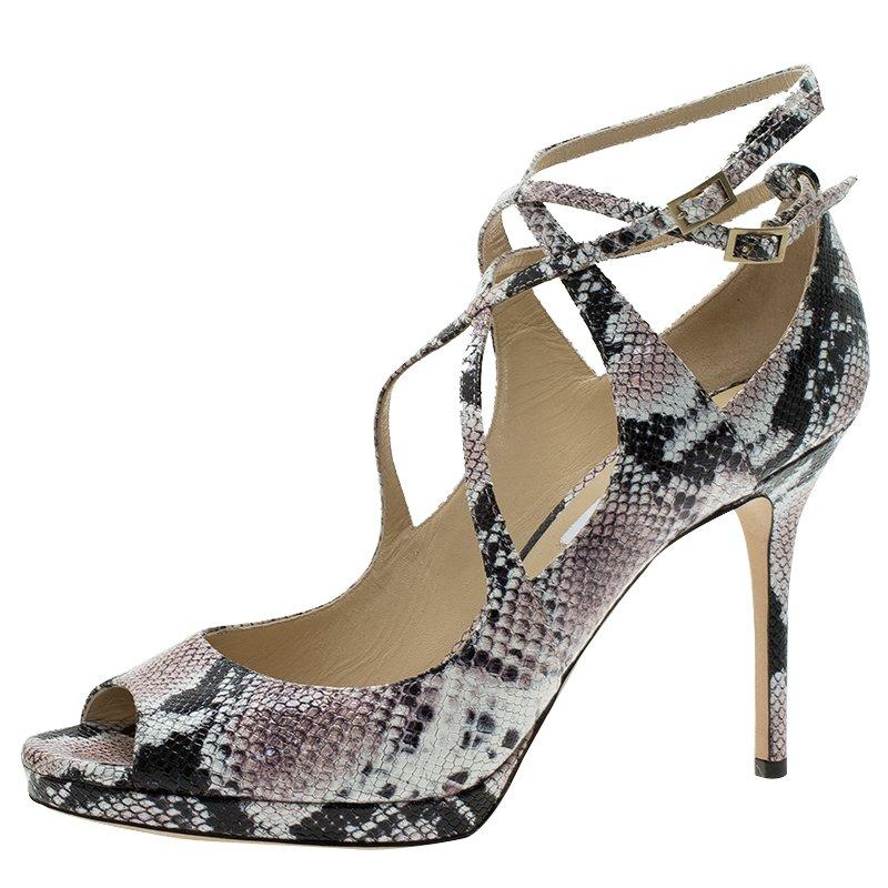 Jimmy Choo Multi Color Python Arica Criss Cross Platform Sandals Size 41