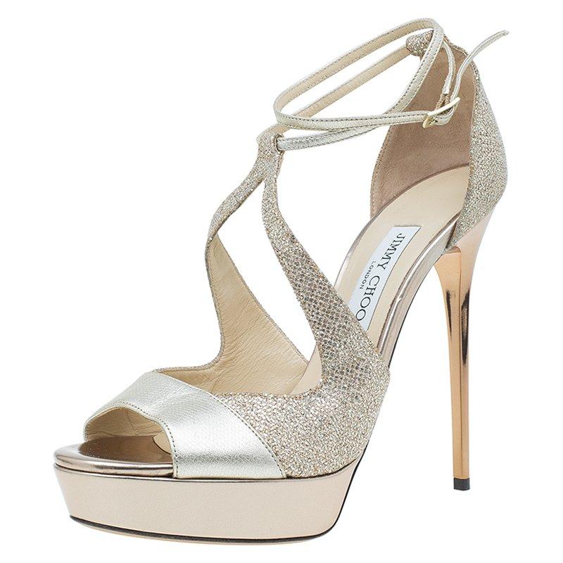 f000130340b ... Jimmy Choo Gold Leather and Glitter Fabric Valdia Platform Sandals Size  40.5. nextprev. prevnext