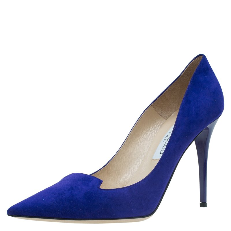 dd85c76e5ff0 Buy Jimmy Choo Navy Blue Suede Avril Pointed Toe Pumps Size 40.5 ...