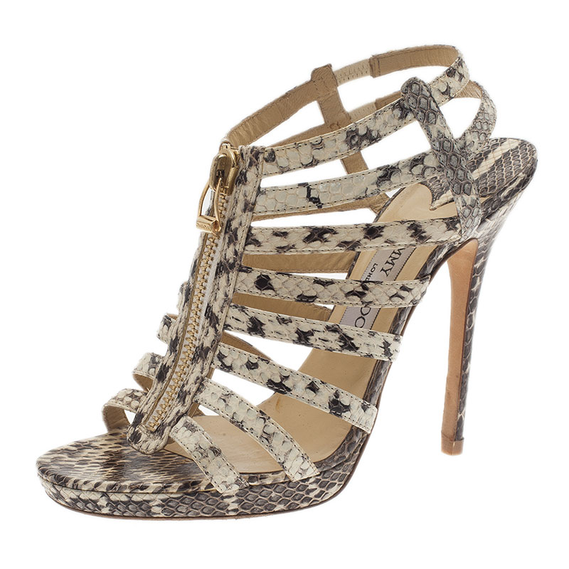 560b1d01ebf Buy Jimmy Choo Grey Python Glenys Cage Sandals Size 39.5 551 at best ...