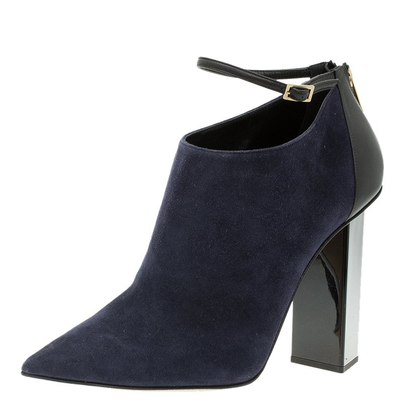 Buy Jimmy Choo Navy Blue Suede And Black Leather Vanish Ankle Boots