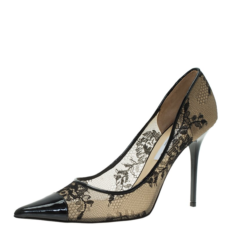 Buy Jimmy Choo Black Lace and Patent Amika Cap Toe Pointed Pumps ...