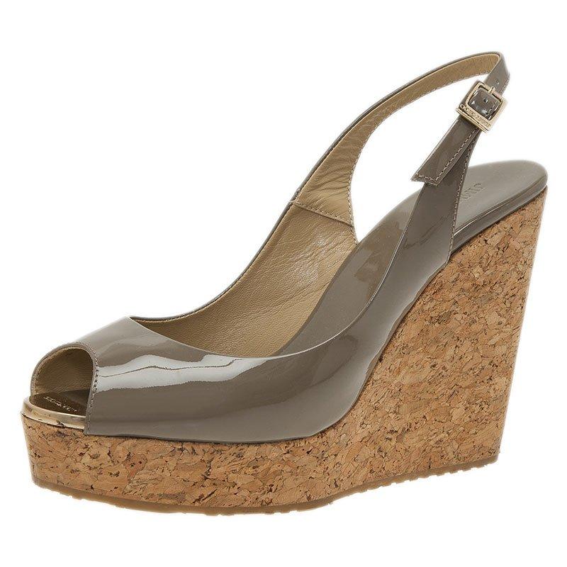 8109022a67ee Buy Jimmy Choo Grey Patent Prova Slingback Cork Wedge Sandals Size ...
